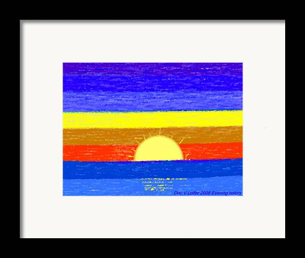 Evening.sky.stars.colors.violet.blue.orange.yellow.red.sea.sunset.sun.sunrays.reflrction. Ater. Framed Print featuring the digital art Evening Colors by Dr Loifer Vladimir
