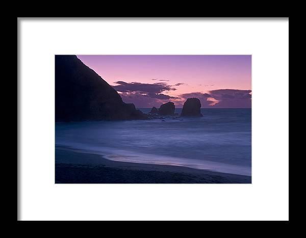 Stormfront Framed Print featuring the photograph Evening Comes To Rockaway Beach by Scott Lenhart