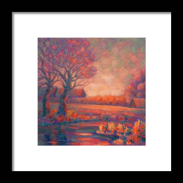 Landscape Framed Print featuring the painting Evening In Tarasovka. by Ivan KRUTOYAROV