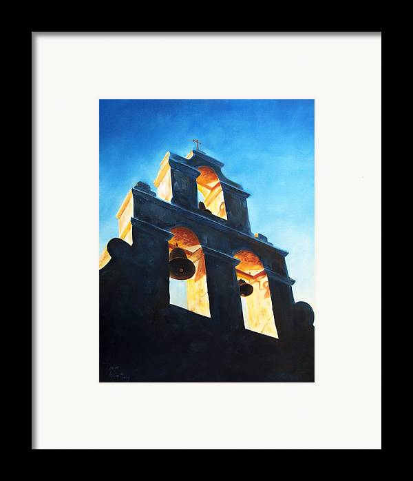 Building Framed Print featuring the painting Evening Mission by Scott Alcorn