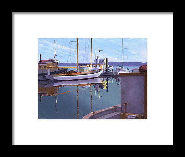 Schooner Framed Print featuring the painting Evening on Malaspina Strait by Gary Giacomelli