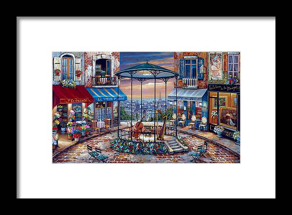Street Framed Print featuring the painting Evening Prelude by MGL Meiklejohn Graphics Licensing