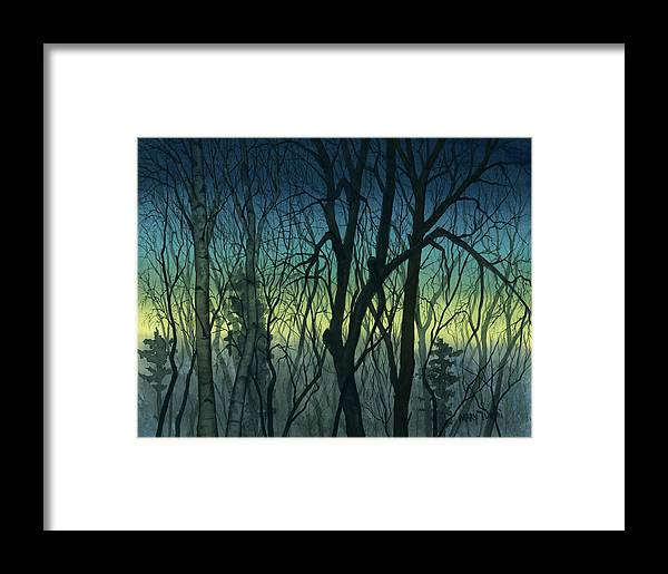 Blue Framed Print featuring the painting Evening Stand by Mary Tuomi