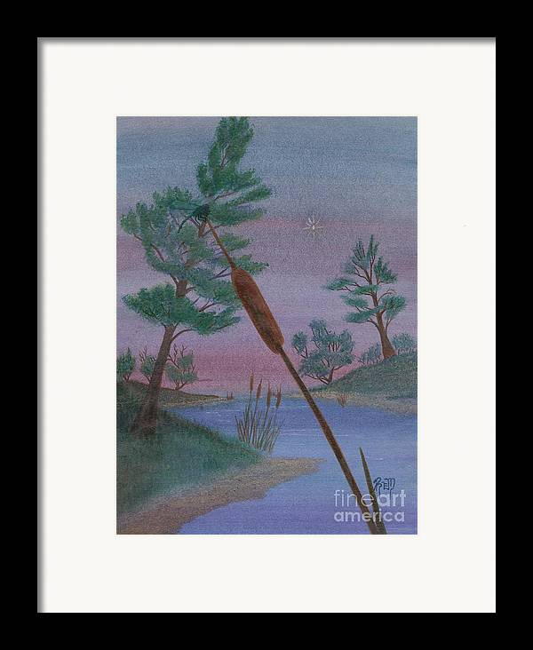 Watercolor Framed Print featuring the painting Evening Wish by Robert Meszaros