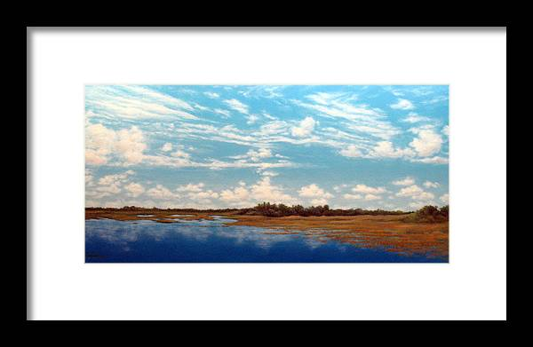 Everglades Framed Print featuring the painting Everglade Sky by Mary Taglieri