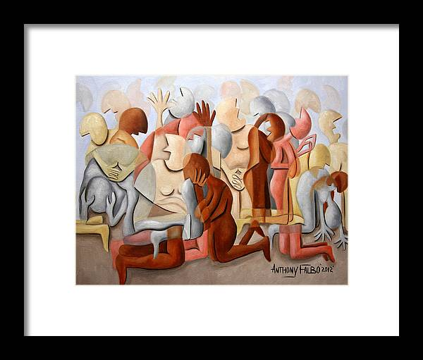 Every Knee Shall Bend Every Mouth Shall Confess Jesus Is Lordevery Knee Shall Bend Framed Prints Framed Print featuring the painting Every Knee Shall Bend Every Mouth Shall Confess Jesus Is Lord by Anthony Falbo