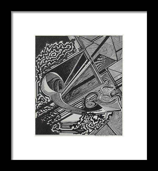 Nonobjective Framed Print featuring the drawing Every Which Way Two by Denis Gloudeman