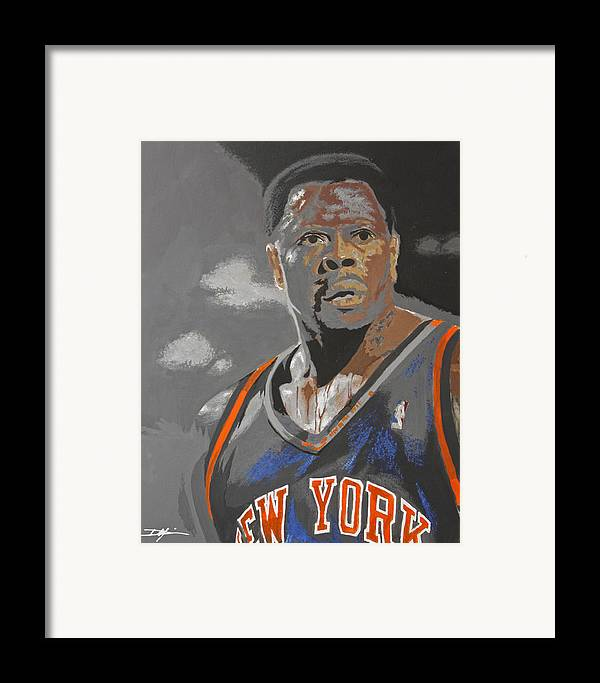 New York Knicks Framed Print featuring the drawing Ewing by Don Medina