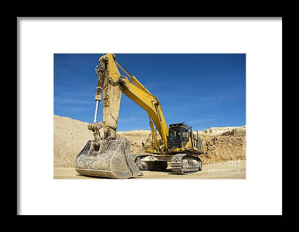 Closeup Framed Print featuring the photograph Excavator At Quarry Site by Stuart Renneberg