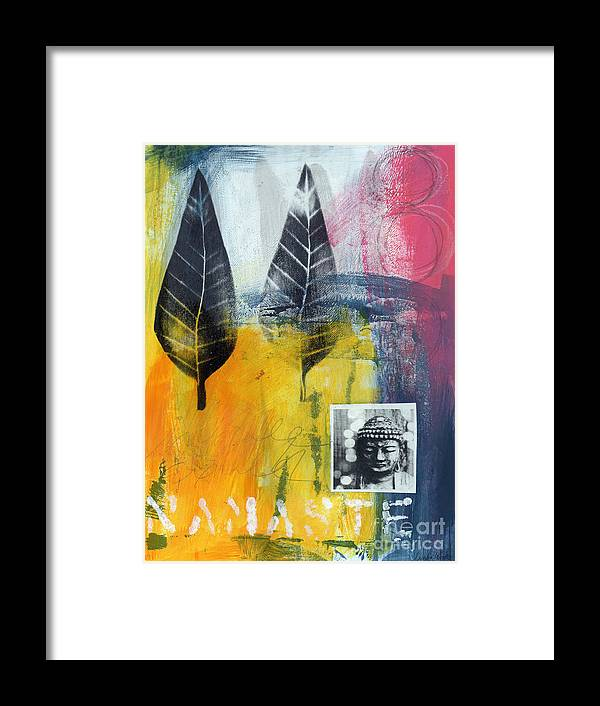 Namaste Framed Print featuring the painting Exhale by Linda Woods