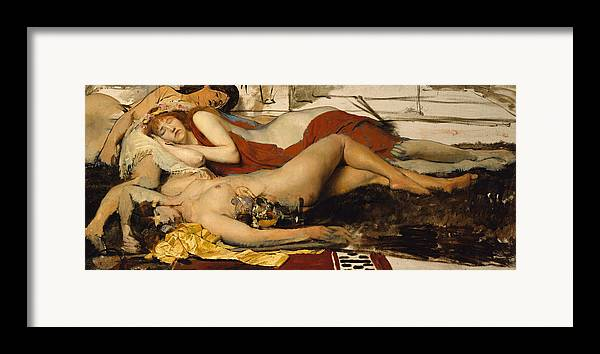 Nude Framed Print featuring the painting Exhausted Maenides by Sir Lawrence Alma Tadema