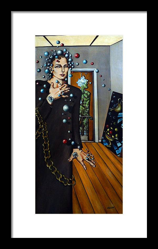 Surreal Framed Print featuring the painting Existential Thought by Valerie Vescovi