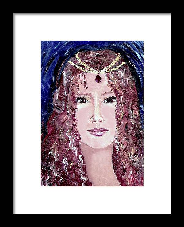 Portrait Framed Print featuring the painting Exotic Ruby by Robin Monroe