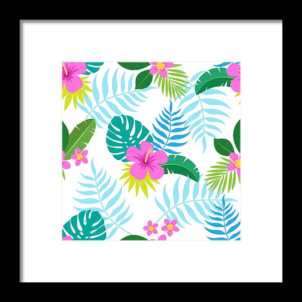 Art Framed Print featuring the digital art Exotic Seamless Colorful Pattern With by Ekaterina Bedoeva
