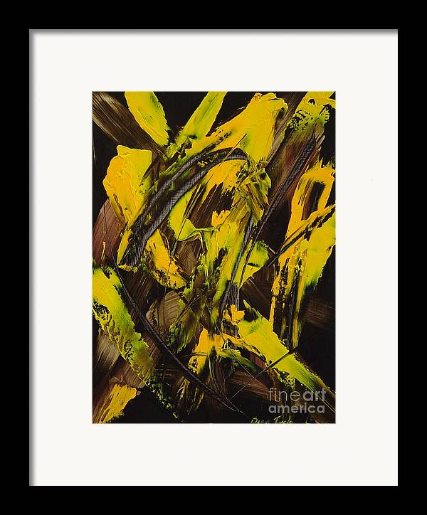 Abstract Framed Print featuring the painting Expectations Yellow by Dean Triolo