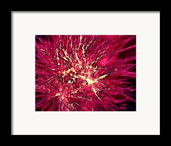 Fire Works Framed Print featuring the digital art Explosion by Stephanie Hollingsworth