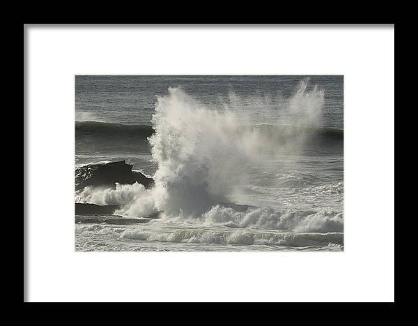 Mavericks Framed Print featuring the photograph Explosive Wave At Mavericks Point by Scott Lenhart
