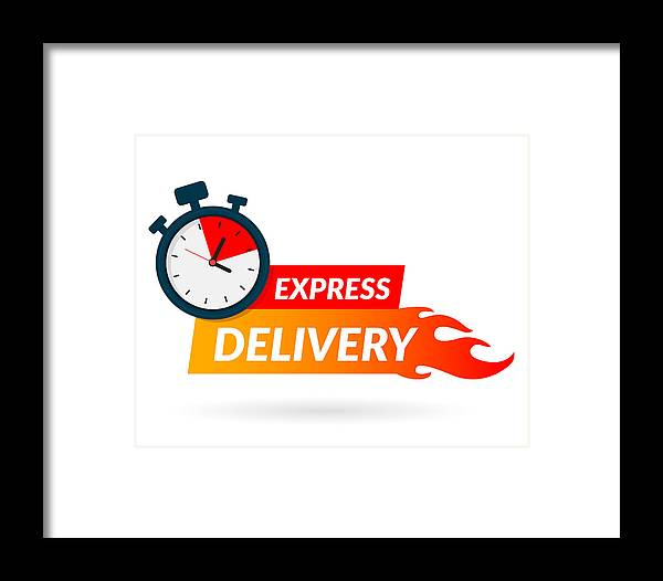 2f1f59668b336 Internet Framed Print featuring the drawing Express Delivery Icon For Apps  And Website. Delivery Concept