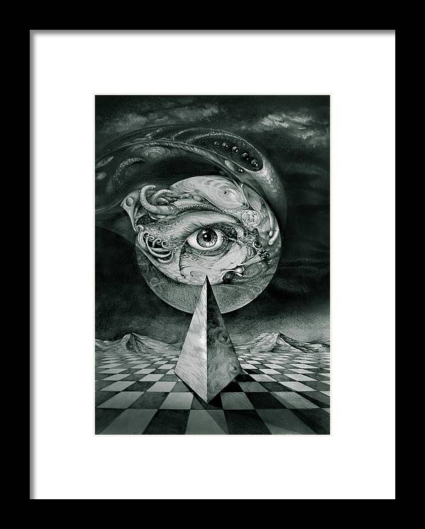 otto Rapp Surrealism Framed Print featuring the drawing Eye Of The Dark Star by Otto Rapp