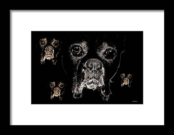 Eyes Framed Print featuring the digital art Eyes In The Dark by Maria Urso