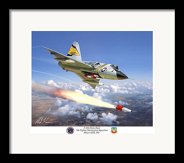 Aviation Framed Print featuring the painting F-106 Delta Dart 5th Fis by Mark Karvon