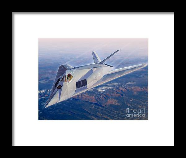 F-117 Framed Print featuring the digital art F-117 The Dragon by Stu Shepherd