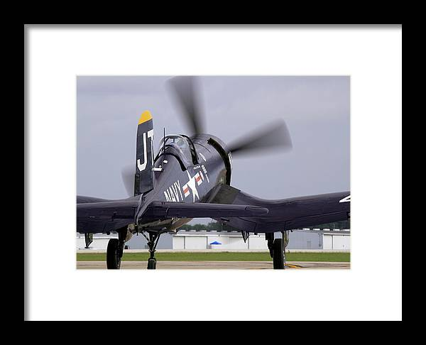 Taxi Framed Print featuring the photograph F4u-4 Corsair Prop Wash by Howard Markel
