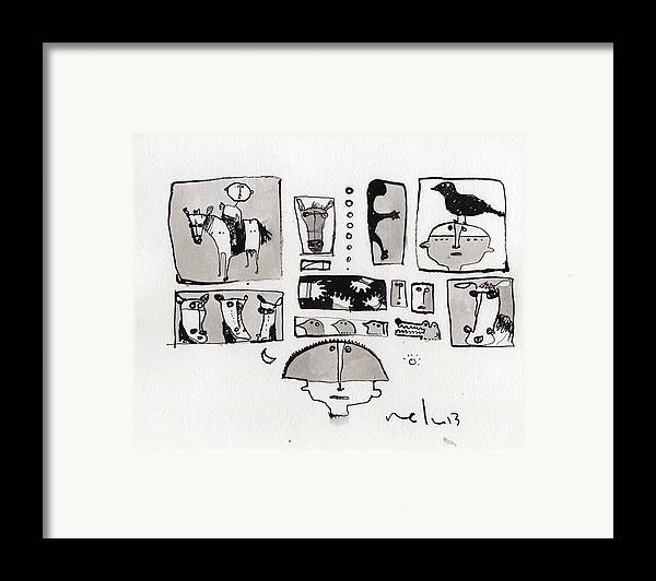 Narrative Framed Print featuring the drawing Fabula No. 1 by Mark M Mellon