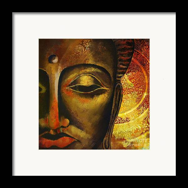 Face Of Buddha Framed Print featuring the painting Face Of Buddha by Corporate Art Task Force