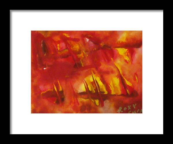 Framed Print featuring the painting Face Of Fire 2 by Roxy Furos