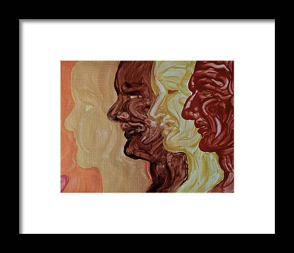 Faces Framed Print featuring the painting Faces by Michele Myers
