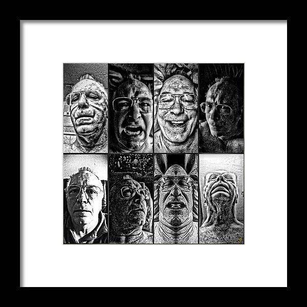 Faces Framed Print featuring the digital art Faces by Ron Bissett