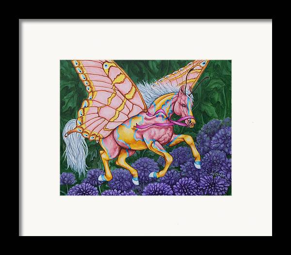 Horses Framed Print featuring the painting Faery Horse Hope by Beth Clark-McDonal