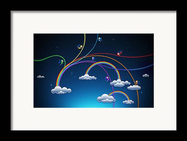 Abstract Framed Print featuring the drawing Fairies Made Rainbow by Gianfranco Weiss