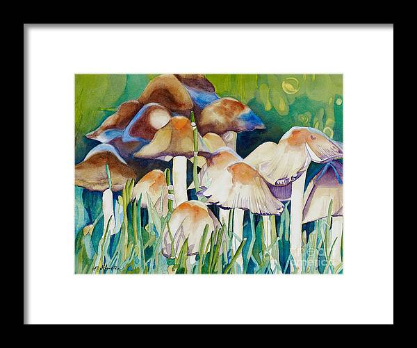 Mushrooms Framed Print featuring the painting Fairy Ring by Amanda Schuster
