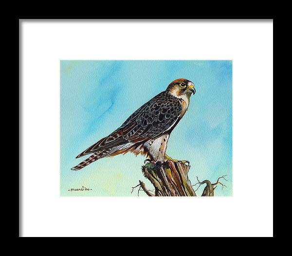 Falcon Framed Print featuring the painting Falcon On Stump by Anthony Mwangi