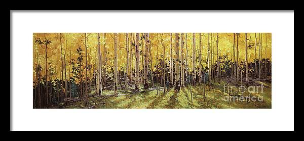 Fall Aspen Panorama Framed Print featuring the painting Fall Aspen Panorama by Gary Kim