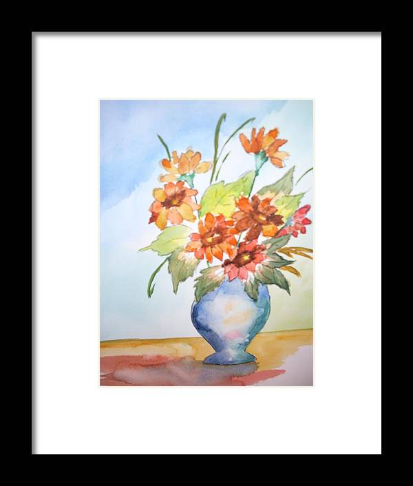 Floral Still Life Framed Print featuring the painting Fall Bouquet by Warren Thompson
