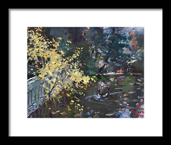 Fall Framed Print featuring the painting Fall By The Pond by Ylli Haruni