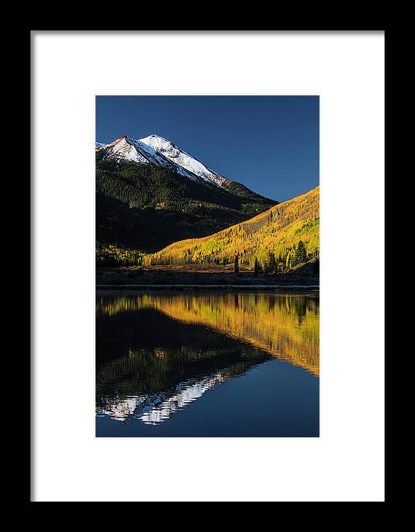 Adam Jones Framed Print featuring the photograph Fall Colors And Red Mountain Reflected by Adam Jones