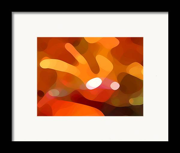 Abstract Framed Print featuring the painting Fall Day by Amy Vangsgard