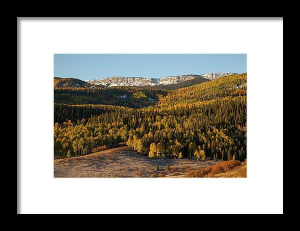 Tranquility Framed Print featuring the photograph Fall Foliage And Snow-dusted Peaks by Karen Desjardin