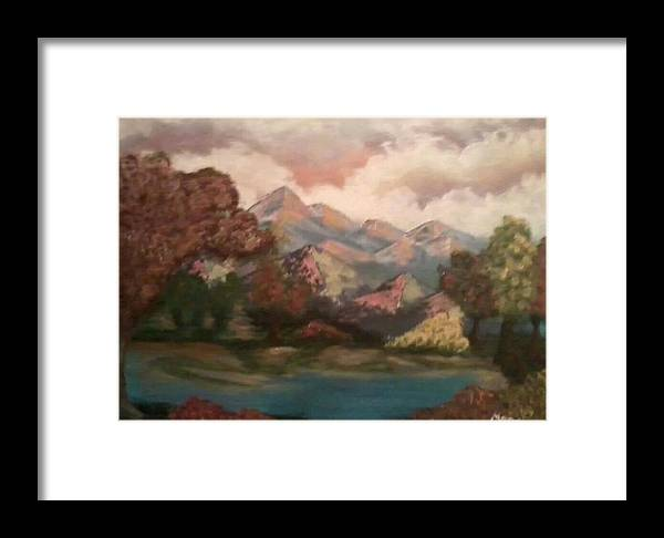 Landscape Framed Print featuring the painting Fall In The Mountains by Amanda Rardin