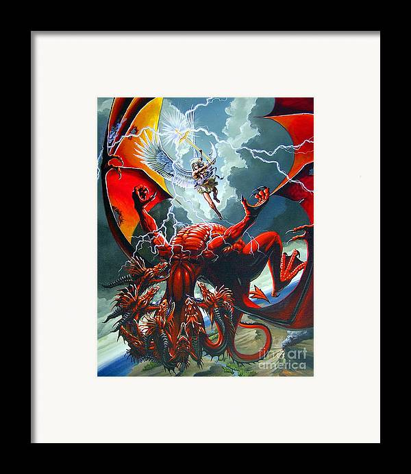 Dragon Framed Print featuring the painting Fall Of The Hydra by Stanley Morrison