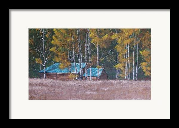 Landscape Framed Print featuring the painting Fall On The Ranch by Gene Ritchhart