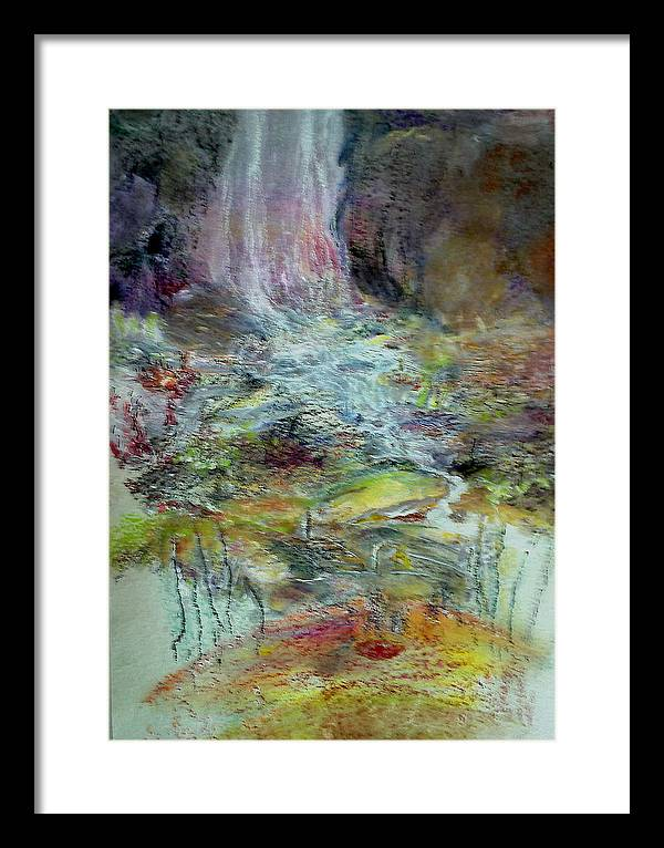 Abstract Landscape Framed Print featuring the painting Fall Three by Subrata Bose