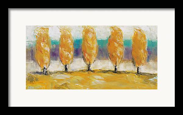 Landscape Framed Print featuring the painting Fall Trees by Becky Kim