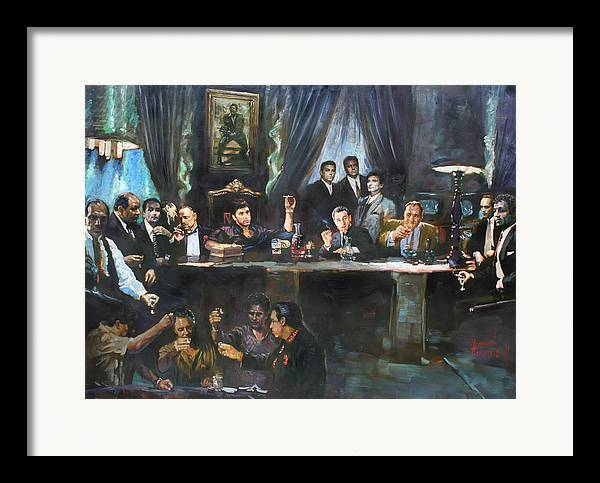 Gangsters Framed Print featuring the painting Fallen Last Supper Bad Guys by Ylli Haruni