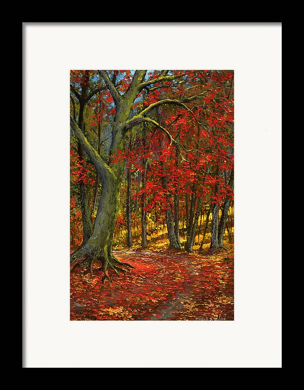 Landscape Framed Print featuring the painting Fallen Leaves by Frank Wilson