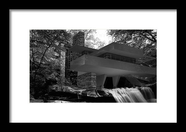 Fallingwaters Framed Print featuring the digital art Falling waters by Louis Ferreira